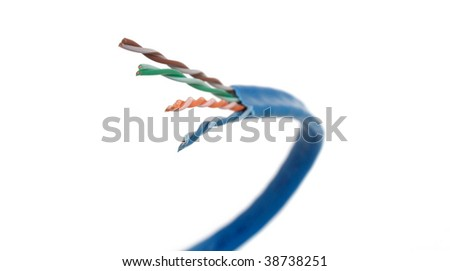 Category 6 network cable curving forward and to the left. #38738251