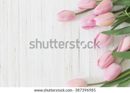 beautiful tulips on wooden background Royalty-Free Stock Photo #387396985