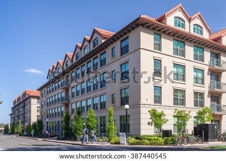 Palo Alto, CA/USA - circa June 2011: Residential dormitories of Stanford University Campus in Palo Alto, California #387440545