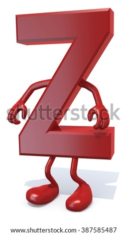 letter Z with arms and legs posing, isolated on white 3d illustration