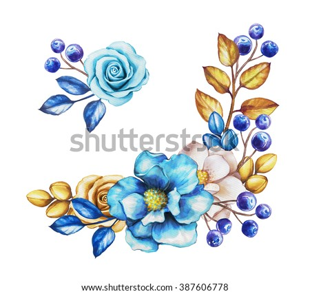 watercolor blue flowers and gold leaves, design elements set, isolated on white background