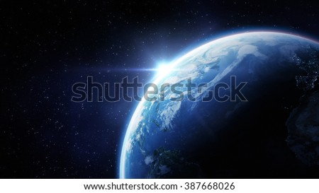 High Resolution Planet Earth view. The World Globe from Space in a star field showing the terrain and clouds. Elements of this image are furnished by NASA #387668026