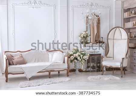 Classic Interior Of Living Room With Sofa And Armchair Near Fireplace Royalty-Free Stock Photo #387734575