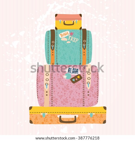 vector illustration. pile of vintage suitcases. #387776218