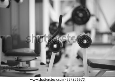 Sport equipment in fitness center #387936673