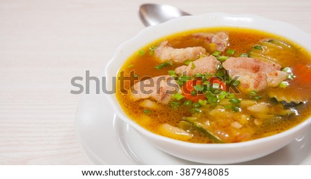 Meat soup with vegetables #387948085