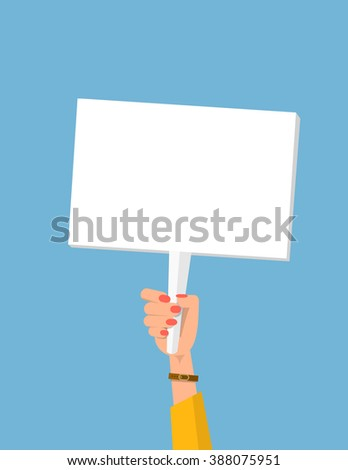 Marcher's hand holding placard. Struggle for rights concept. Vector flat cartoon illustration for web banners, infographic design. Empty protest sign. Picket sign. Propaganda poster. Gender inequality