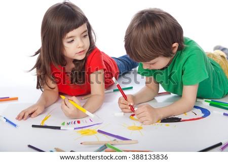 Image of girl and boy doodling, on white background #388133836