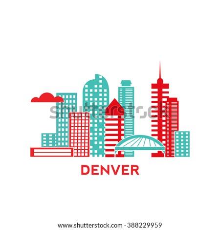Denver city architecture retro vector illustration, skyline city silhouette, skyscraper, flat design