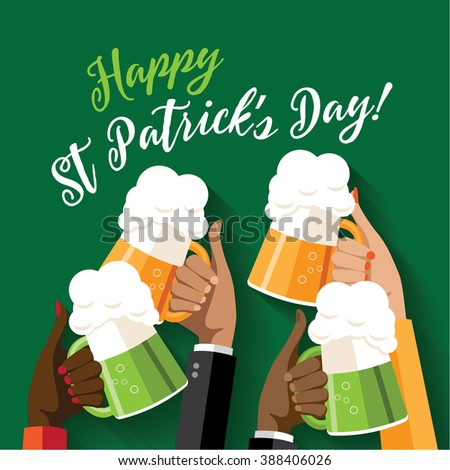Happy St. Patrick's Day toasting hands flat design.
