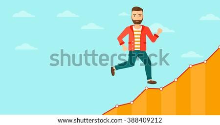Businessman walking upstairs. #388409212