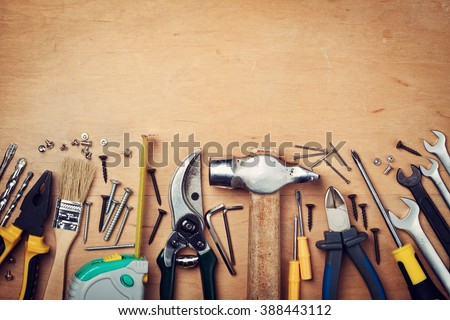 Working tools on wooden rustic background. top view #388443112