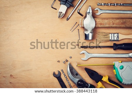 Working tools on wooden rustic background. top view #388443118