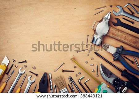 Working tools on wooden rustic background. top view #388443121