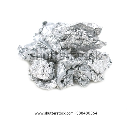 crumpled foil on a white background #388480564