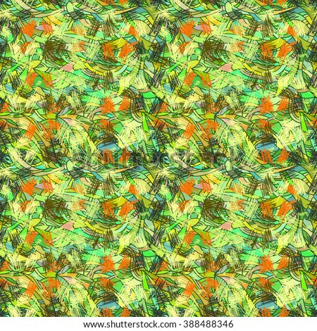 Seamless abstract floral pattern, wild jungle, vector, hand drawn background. For the design and decoration background, wallpaper, packaging, fabrics, textiles. #388488346