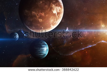 Planets over the nebulae in space. This image elements furnished by NASA #388842622