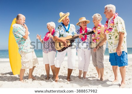 Portrait of smiling senior friends on the beach #388857982