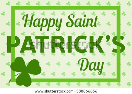 Happy St. Patrick's Day greeting card. Vector illustration. #388866856