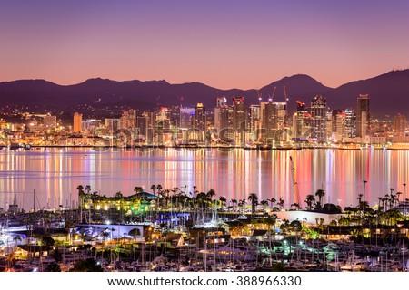 San Diego, California, USA cityscape over the bay.
