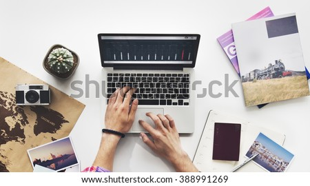 Computer Laptop Research Working Desk Concept