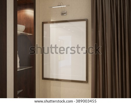 3d illustration blank picture frame on a wall #389003455