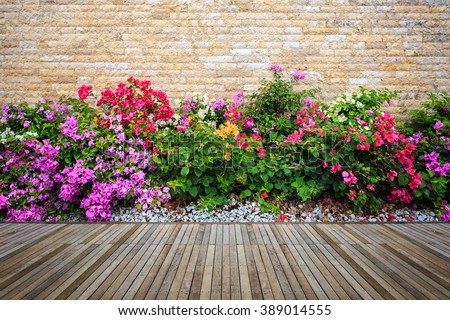 Old hardwood decking or flooring and plant in garden decorative #389014555