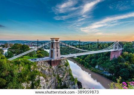Clifton Suspension Bridge, Bristol, UK with sunset  Royalty-Free Stock Photo #389059873