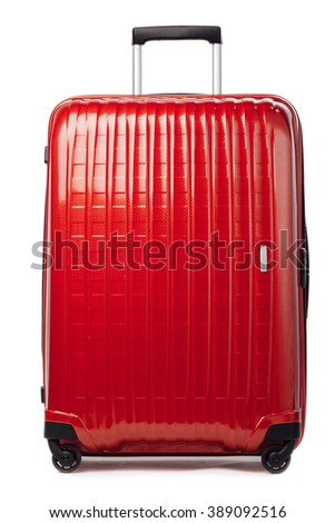 red carbon suitcase isolated on white #389092516