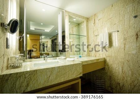 Interior of a modern bathroom,part of luxury hotel. #389176165