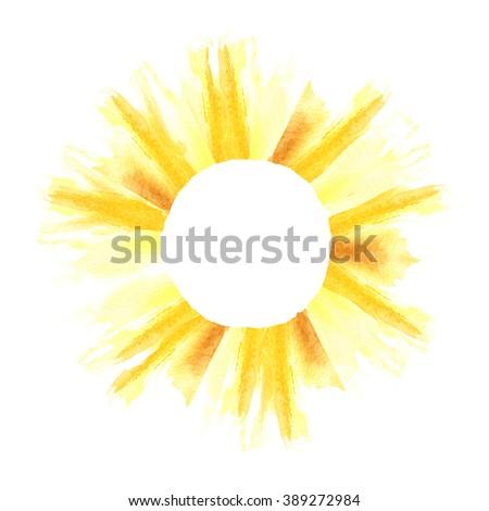 Watercolor summer frame. Sun background. Sun shape border. Decorative element. Copyspace