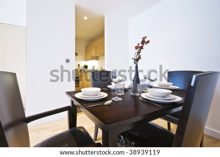 detail of a modern set up dining table #38939119