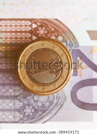 Background of Euro banknotes and coins money vintage #389419171