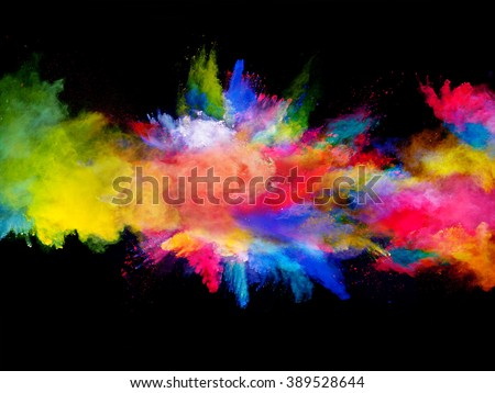 Explosion of colored powder on black background Royalty-Free Stock Photo #389528644