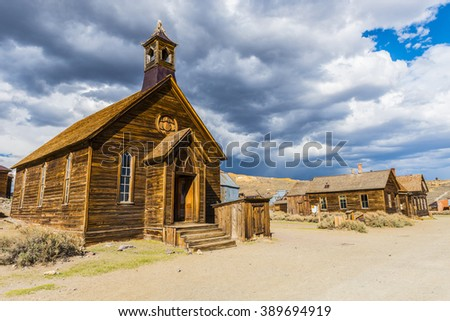 Ghost town of Bodie is a National Historic Landmark. It is located in Mono County, Sierra Nevada - California. United States of America. The town was founded in 1859. Royalty-Free Stock Photo #389694919