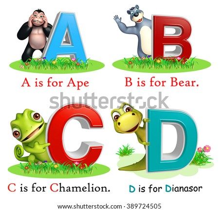 3d rendered illustration of Ape, Bear, Chamelion and Dinasour with Alphabate