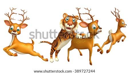 3d rendered illustration of Tiger hunting Dear