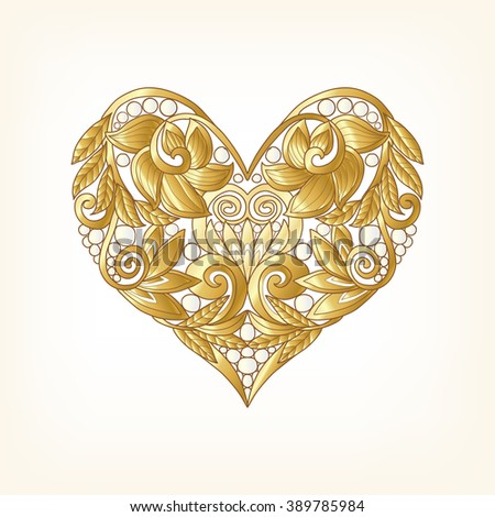 Gold Love Heart on white background. Vector illustration. In art deco style, art nouveau style. #389785984