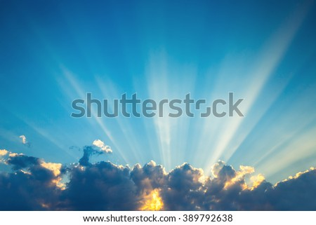 Cloudscape and dramatic blue sky, sunset shot #389792638