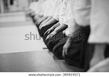 Traditional Japanese sitting posture Royalty-Free Stock Photo #389819071