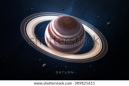 Saturn - High resolution 3D images presents planets of the solar system. This image elements furnished by NASA.