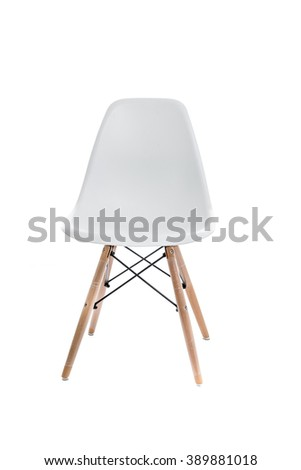 Conceptual Empty White Wooden Leg Chairs Isolated on White Background #389881018