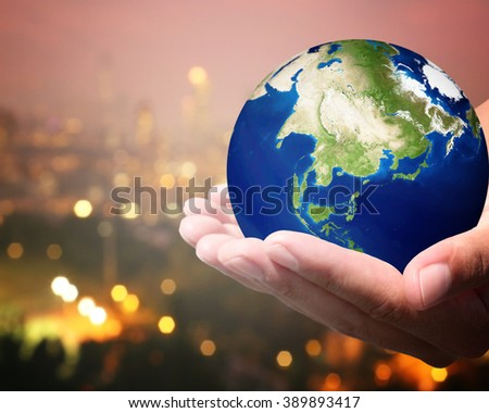 The world is on hold for the city bokeh blur background. Elements of this image furnished by NASA. #389893417