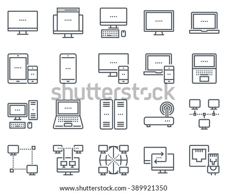 Technology and computers icon set suitable for info graphics, websites and print media and  interfaces. Line vector icons.