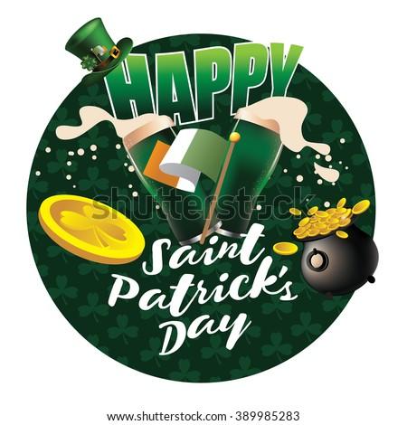 Happy St. Patrick's Day splashing beer design