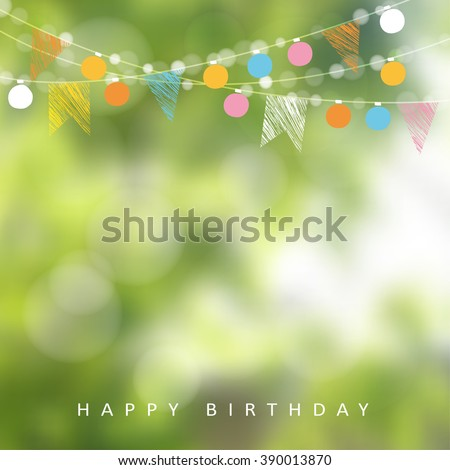 Birthday garden party. Brazilian june party. Festa junina. Vector illustration with garland of lights, party flags. Summer blurred background. Holiday web banner.