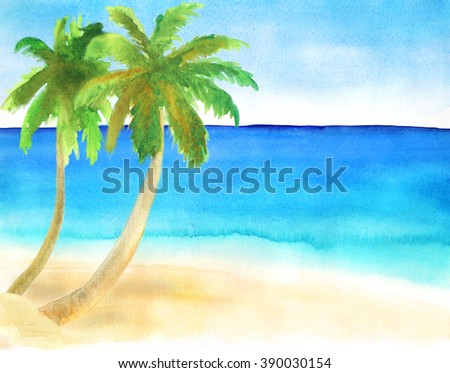 Watercolor hand-drawn landscape with sand beach, palms and ocean #390030154