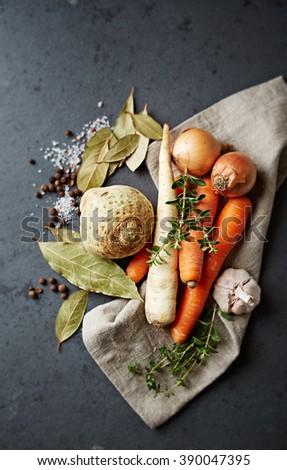 Vegetables and spices for vegetable stock