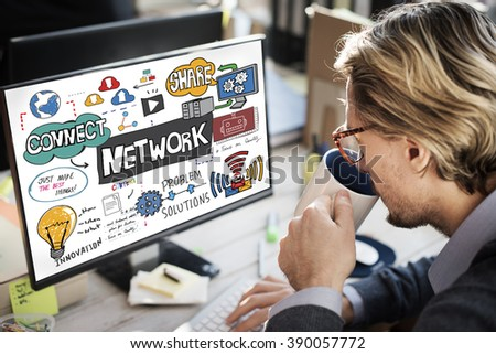 Network Connection Technology Digital Modern Concept #390057772