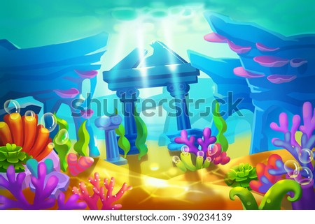 Creative Illustration and Innovative Art: Temple Ruins Under the Sea. Realistic Fantastic Cartoon Style Artwork Scene, Wallpaper, Story Background, Card Design